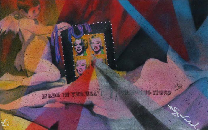 The mirror has two faces (Assinado por / Signed by Andy Warhol) Serigrafia e liquitex / Tela Silkscreen and liquitex / Canvas 47 x 75 cm